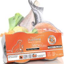 Menu Mini Turkey + Salmon / Pulyka + Lazac felnőtt nedvestáp 1 karton - 12 x 100 gr