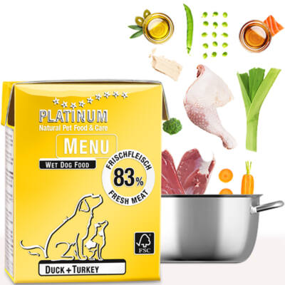 Menu Duck + Turkey / Kacsa + Pulyka felnőtt nedvestáp / 36 x 375 gr