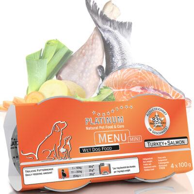 Menu Mini Turkey + Salmon / Pulyka + Lazac felnőtt nedvestáp 8 karton - 96 x 100 gr