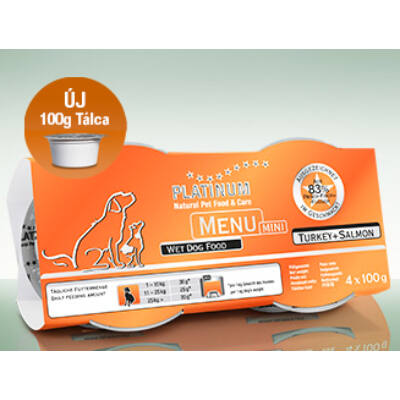 Menu Mini Turkey + Salmon / Pulyka + Lazac felnőtt nedvestáp 1 csomag -  4 x 100 gr