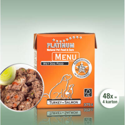 Menu Turkey + Salmon /Pulyka + Lazac felnőtt nedvestáp/ - 48 x 375 gr